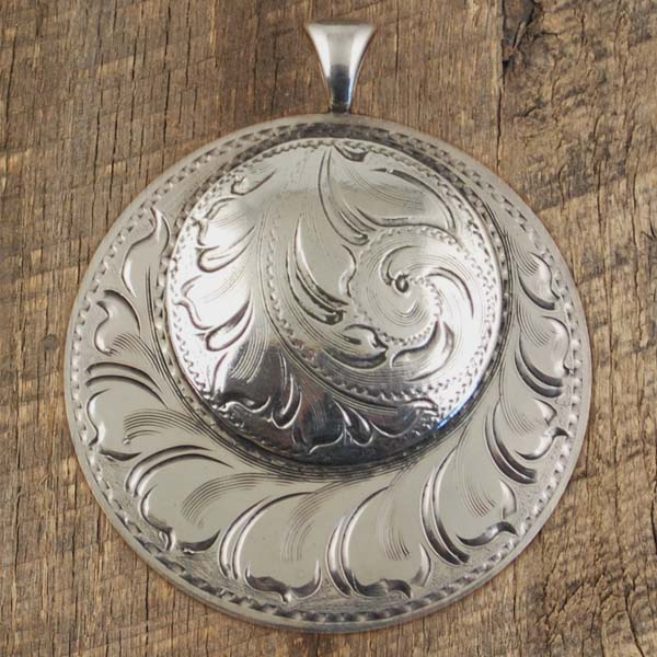 1 and 1 half Inch Double Concho Pendant Scroll