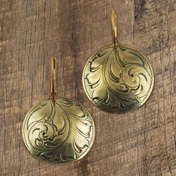 "1"" Concho Earring Scroll Bronze"