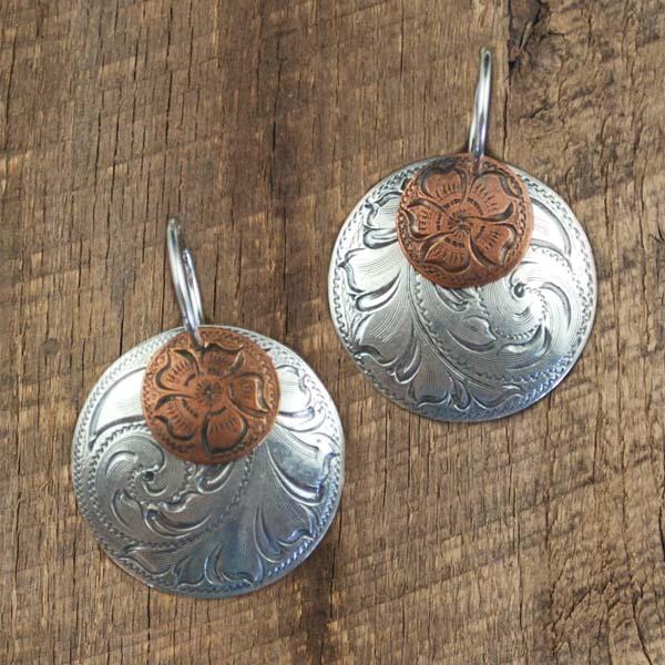 """1"""" Double Concho Earrings Copper/Silver"""