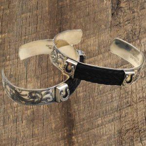 Silver Cuff Horsehair Bracelets