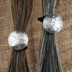 1 Inch Silver Concho Hair Tie