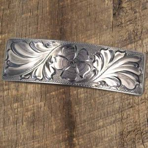 1 Inch Engraved Silver Barrette with Flower