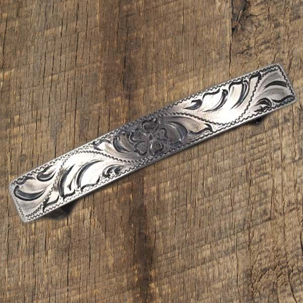 Half Inch Engrave Barrette with Flower