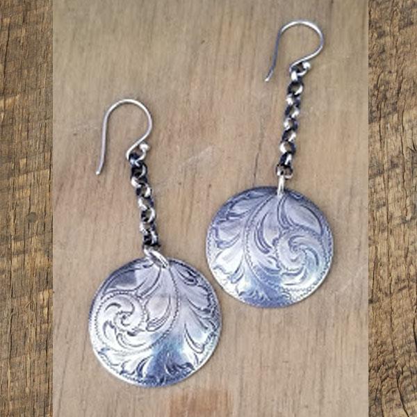 """1"""" scroll concho Earrings on chain"""